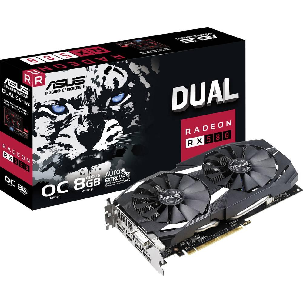Asus grafická karta AMD Radeon RX 580 Dual Overclocked 8 GB GDDR5 RAM PCIe x16 HDMI™, DVI, DisplayPort