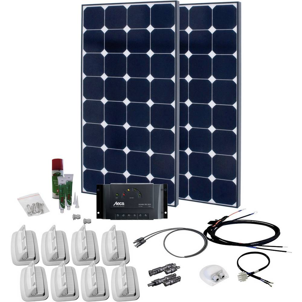 solární sada s 230V zásuvkou Phaesun SPR Caravan Peak Three 6.0 600330, 110 Wp, vč. nabíjecího regulátoru