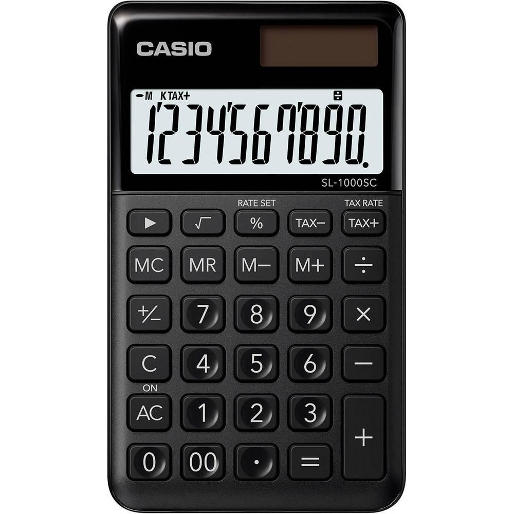 Casio SL-1000SC kapesní kalkulačka černá Displej (počet míst): 10 solární napájení, na baterii (š x v x h) 71 x 9 x 120 mm