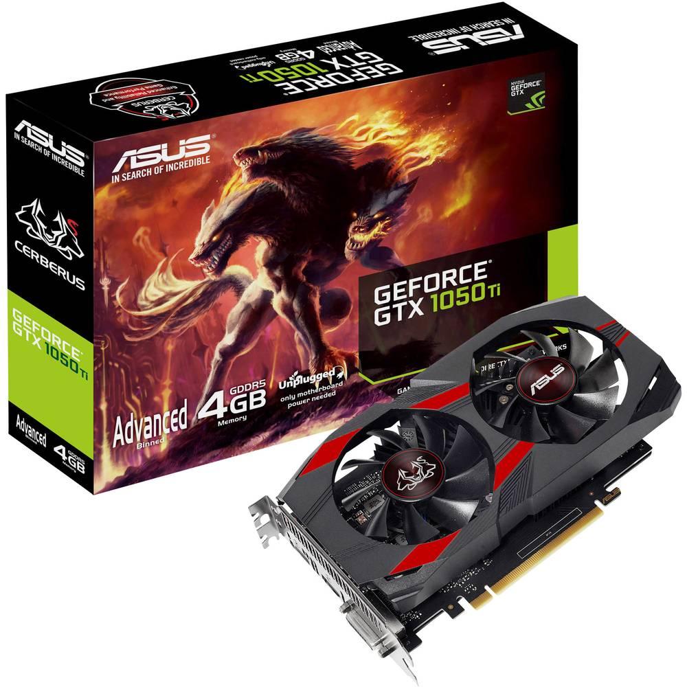 Asus grafická karta Nvidia GeForce GTX1050 Ti Overclocked 4 GB GDDR5 RAM PCIe x16 HDMI™, DVI, DisplayPort