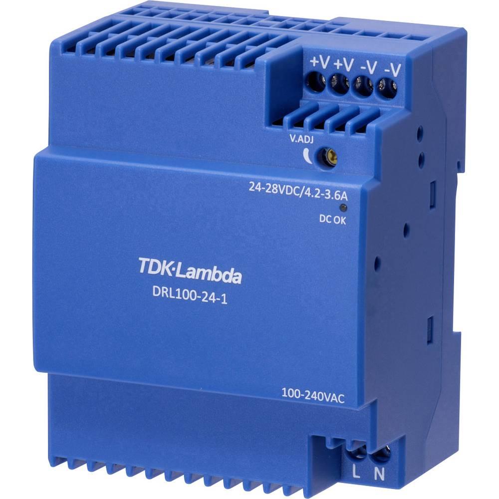 TDK-Lambda DRL-100-24-1 síťový zdroj na DIN lištu, 24 V, 3.67 A, 100.8 W