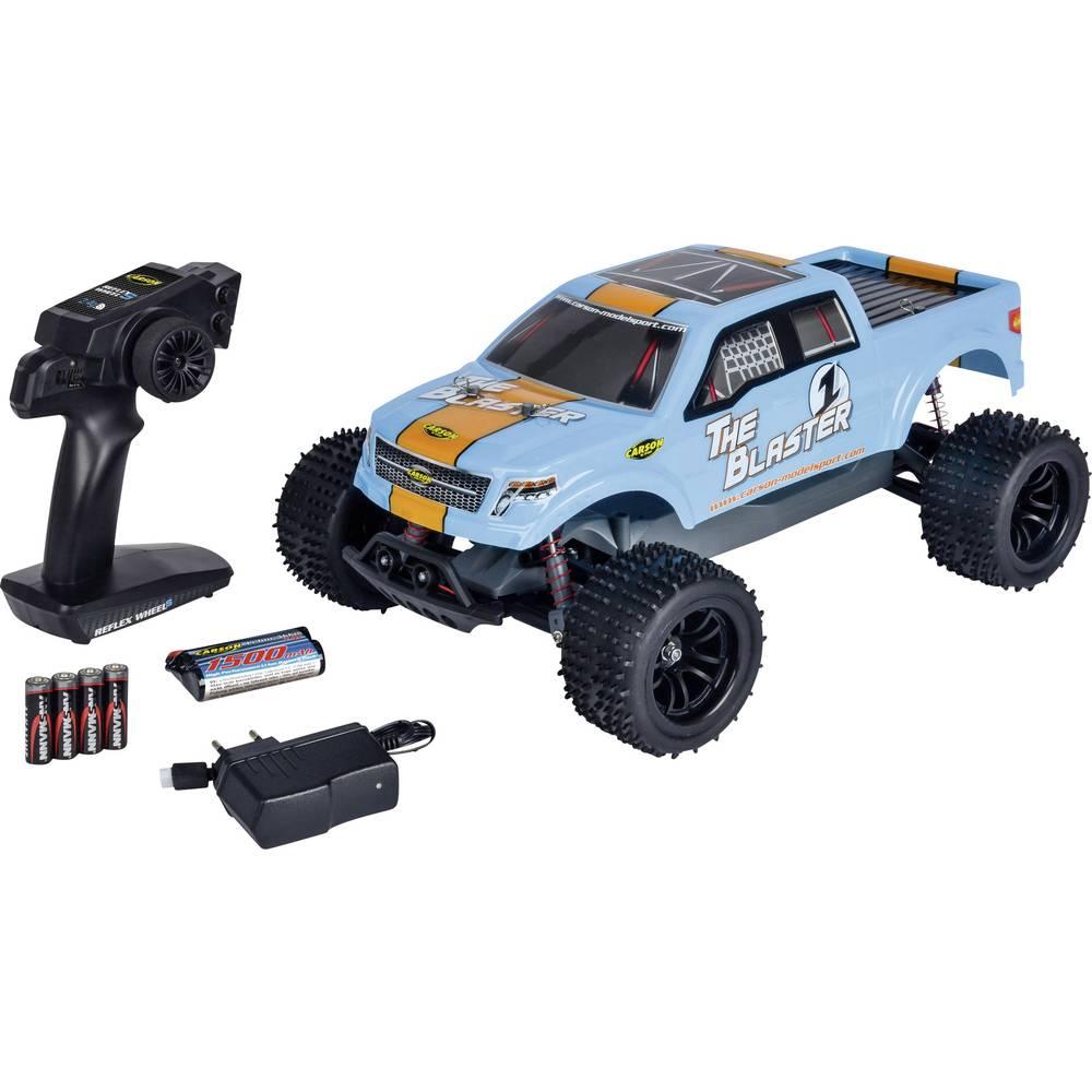 Carson Modellsport The Blaster FE komutátorový 1:10 RC model auta elektrický monster truck zadní 2WD (4x2) 100% RtR 2,4 GHz vč. akumulátorů, nabíječky a baterie ovladače