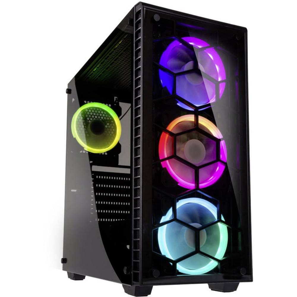 Kolink Observatory RGB midi tower PC skříň černá 4 předinstalované LED ventilátory, boční okno, prachový filtr, instalace pevného disku bez nářadí