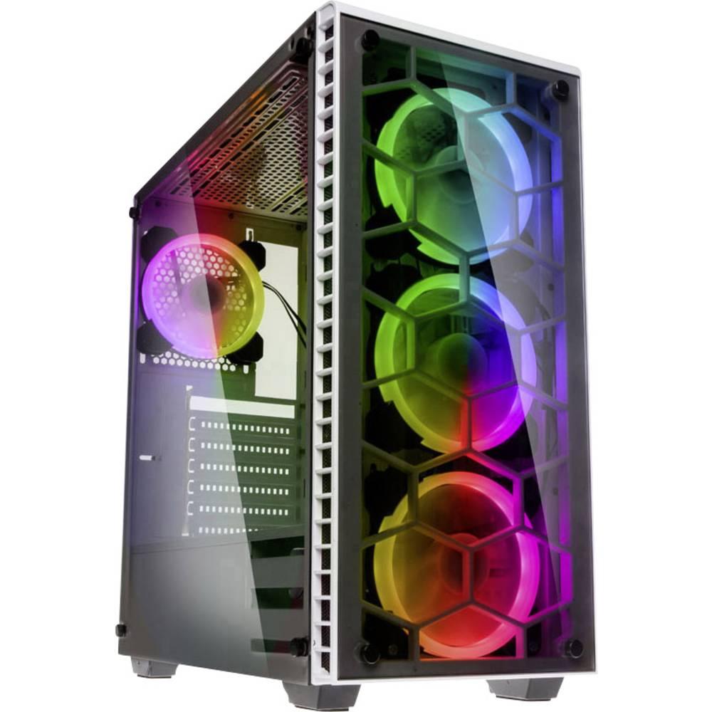 Kolink Observatory RGB midi tower PC skříň bílá 4 předinstalované LED ventilátory, boční okno, prachový filtr, instalace pevného disku bez nářadí