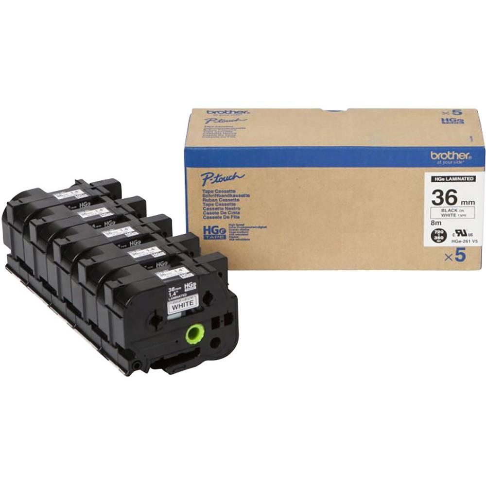 Brother HGe-261V5 páska do štítkovače sada 5 ks Barva pásky: bílá Barva písma: černá 36 mm 8 m
