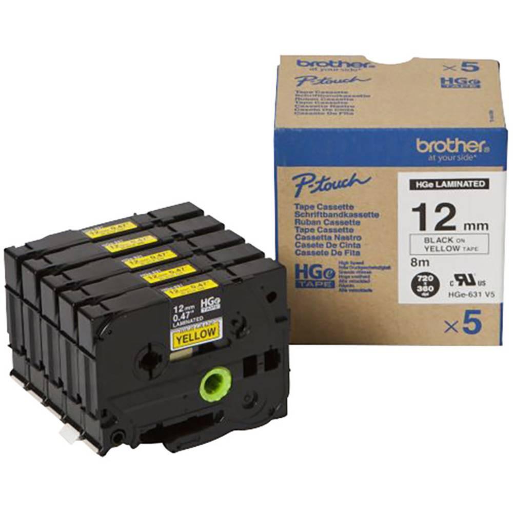 Brother HGe-631V5 páska do štítkovače sada 5 ks Barva pásky: žlutá Barva písma: černá 12 mm 8 m