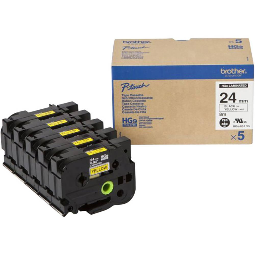 Brother HGe-651V5 páska do štítkovače sada 5 ks Barva pásky: žlutá Barva písma: černá 24 mm 8 m
