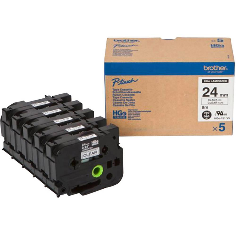 Brother HGe-151V5 páska do štítkovače sada 5 ks Barva pásky: transparentní Barva písma: černá 24 mm 8 m