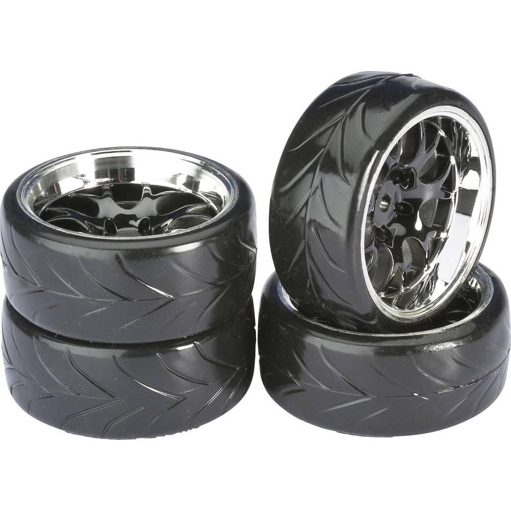 Absima 1:10 silniční model kompletní kola Drifter A Wabe černý chrom 4 ks