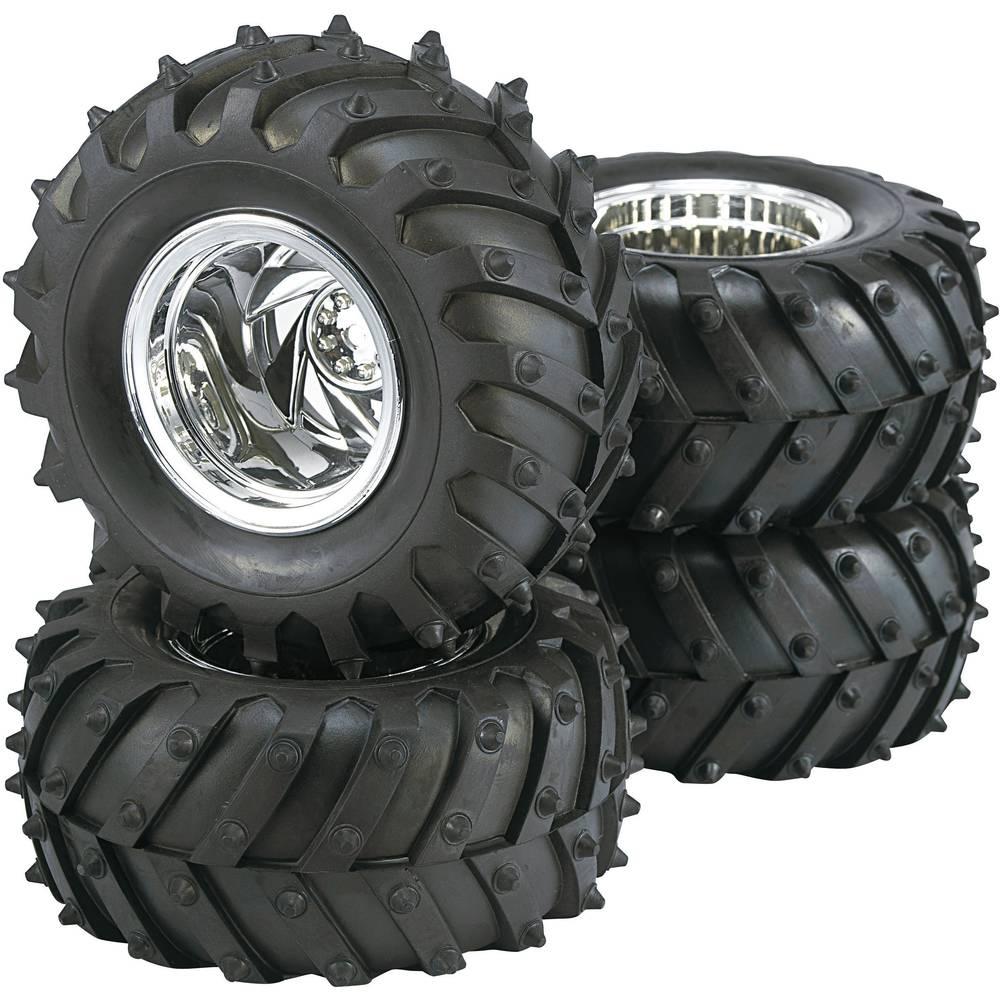 Reely 1:10 monster truck kompletní kola Traktor 5paprskový chrom 4 ks