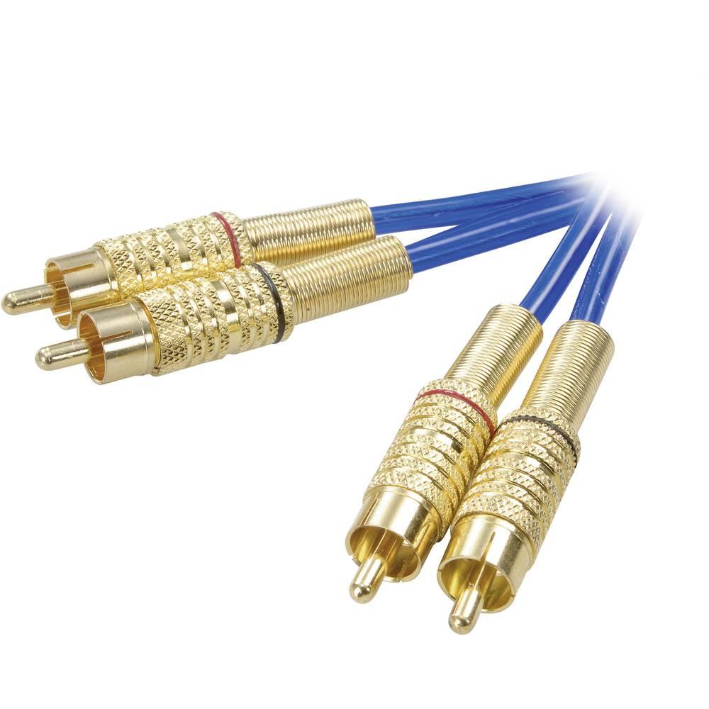 SpeaKa Professional SP-1300144 cinch audio kabel [2x cinch zástrčka - 2x cinch zástrčka] 0.50 m modrá pozlacené kontakty