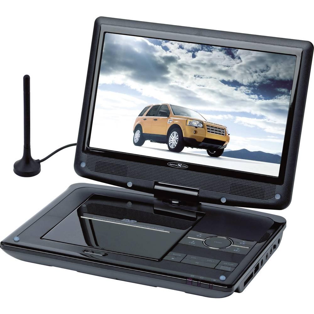 Reflexion DVD1012 Přenosná TV s DVD přehrávačem 25.4 cm 10 palec Energetická třída (EEK2021): A (A - G) s integrovaným DVD přehrávačem, napájení z akumulátoru, camping TV, vč. antény DVB-T, vč. 12V připojovacího kabelu do auta černá