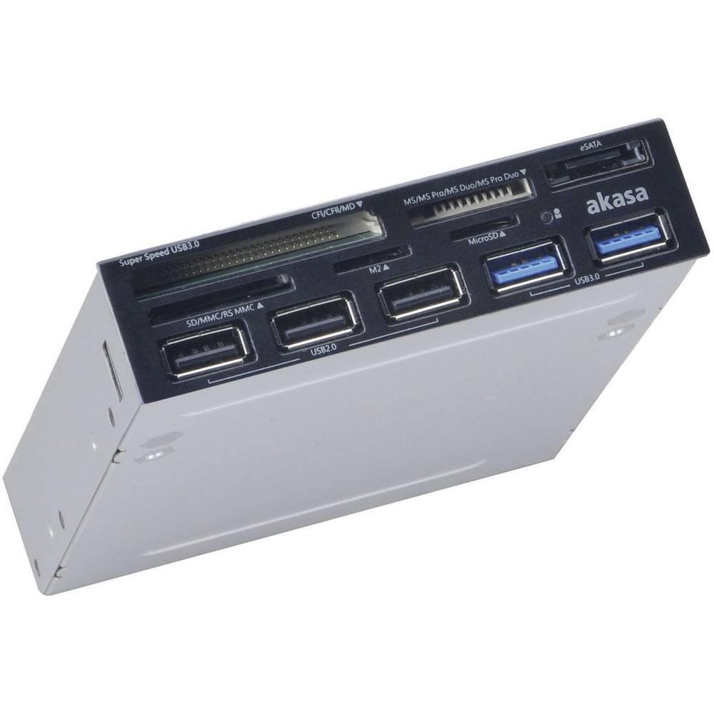"""Akasa AK-ICR-17 vestavná čtečka karet do PC 8,9 cm (3,5"""") USB 2.0 (základní deska), USB 3.0, USB 3.0 (základní deska), SATA, Molex černá"""