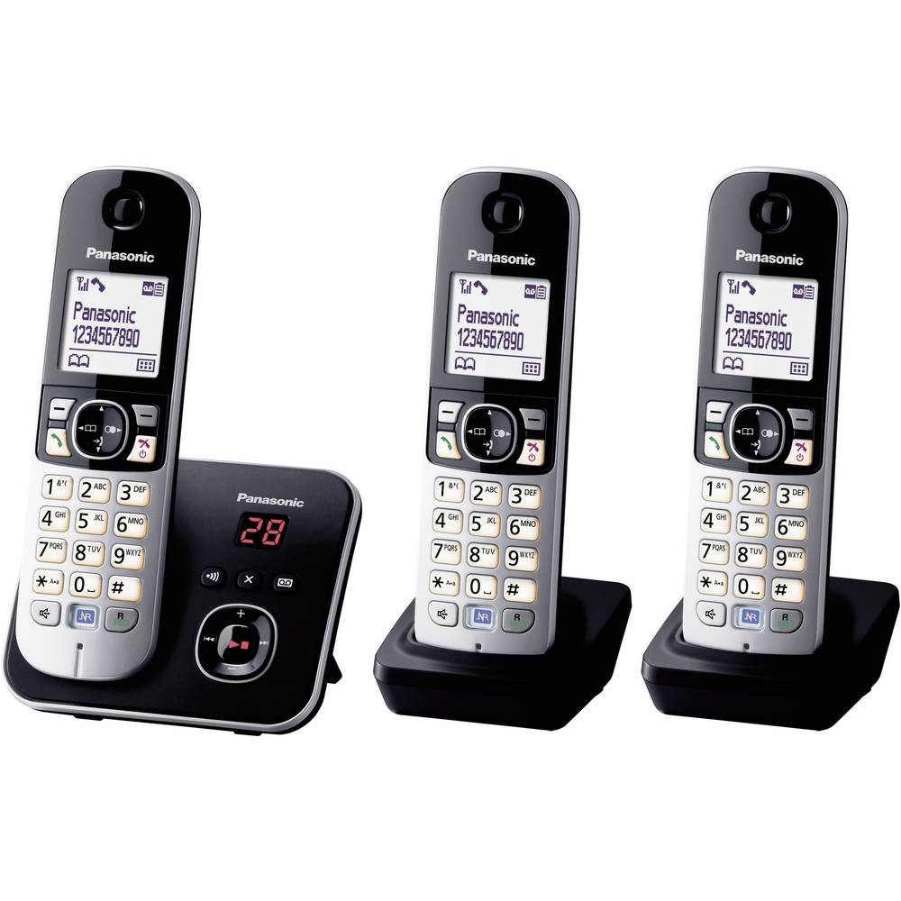 Panasonic KX-TG6823 Trio DECT, GAP bezdrátový analogový telefon záznamník, handsfree černá, stříbrná