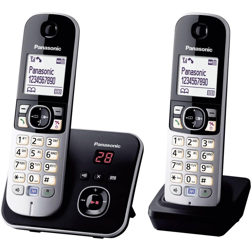 Panasonic KX-TG6822 Duo DECT, GAP bezdrátový analogový telefon záznamník, handsfree černá, stříbrná