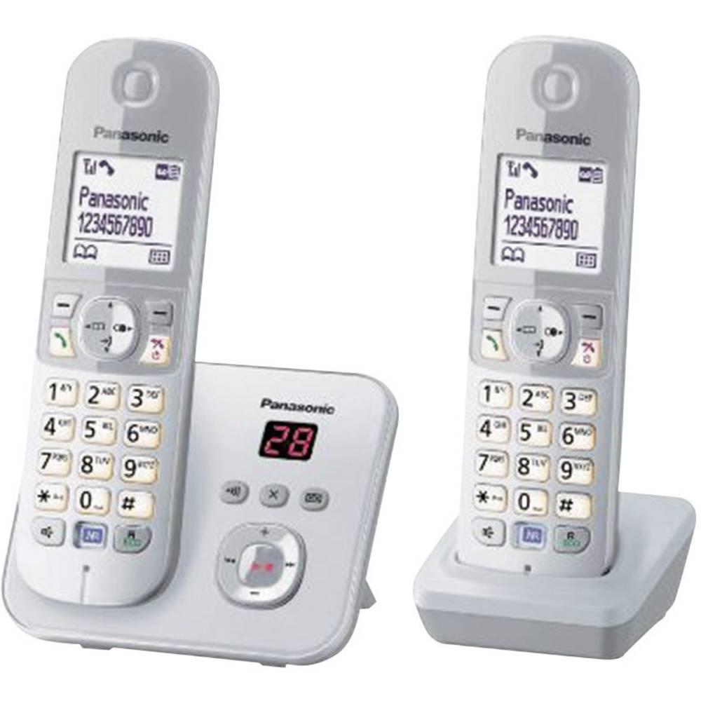 Panasonic KX-TG6822 Duo DECT, GAP bezdrátový analogový telefon záznamník, handsfree stříbrná, šedá
