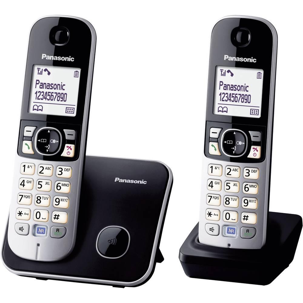 Panasonic KX-TG6812 Duo DECT, GAP bezdrátový analogový telefon handsfree černá, stříbrná