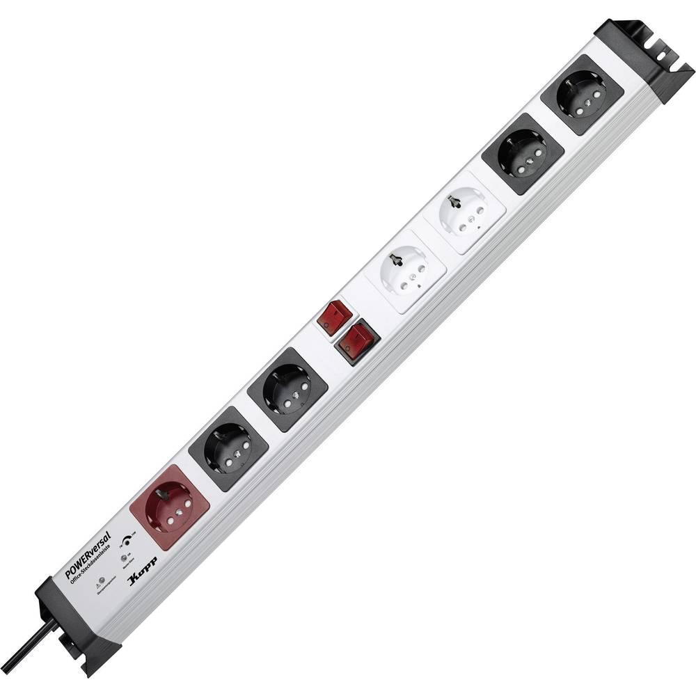 Kopp 227620016 master/slave zásuvková lišta 7násobné stříbrná, černá DE schuko zástrčka/zásuvky 1 ks