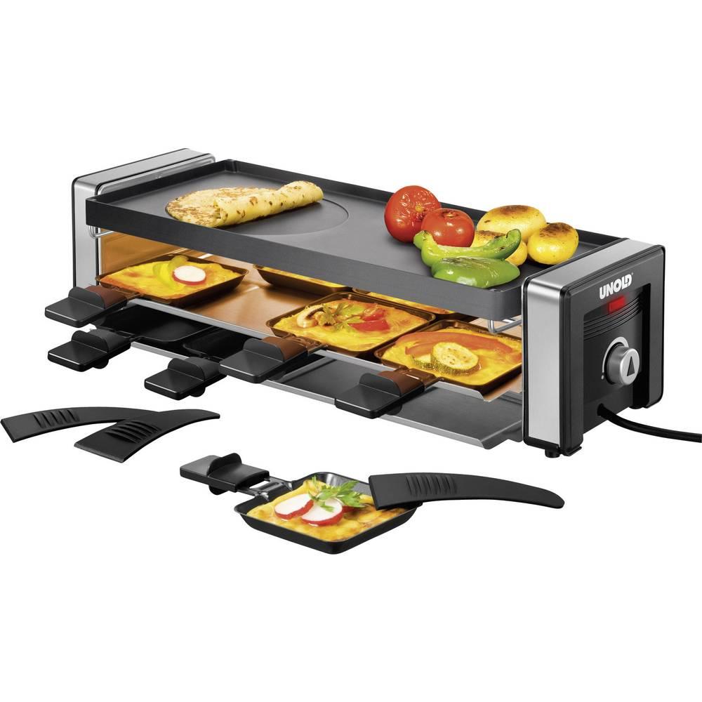 Unold Delice raclette gril s lávovým kamenem, manuálně nastavitelná teplota černá, stříbrná