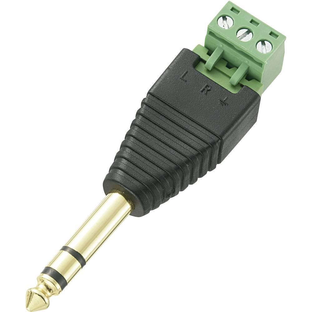 TRU COMPONENTS 737665 jack konektor 6.35 mm zástrčka, rovná Pólů: 3 stereo černá 1 ks