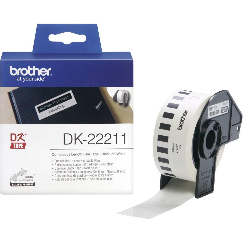 Brother DK-22211 etikety v roli 29 mm x 15.24 m fólie bílá 1 ks permanentní DK22211 univerzální etikety
