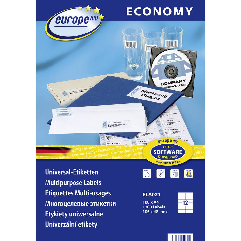 Europe 100 ELA021 etikety 105 x 48 mm papír bílá 1200 ks permanentní univerzální etikety inkoust, laser, kopie 100 Sheet A4