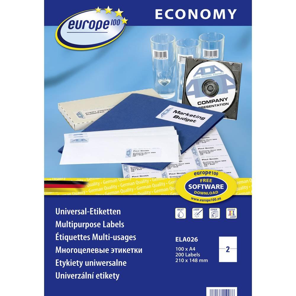Europe 100 ELA026 etikety 210 x 148.5 mm papír bílá 200 ks permanentní univerzální etikety inkoust, laser, kopie 100 Sheet A4
