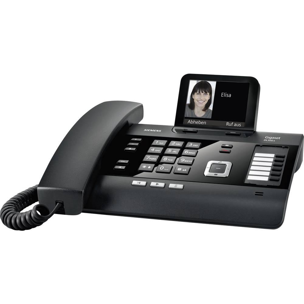 Gigaset DL500A šňůrový telefon, analogový záznamník barevný displej černá