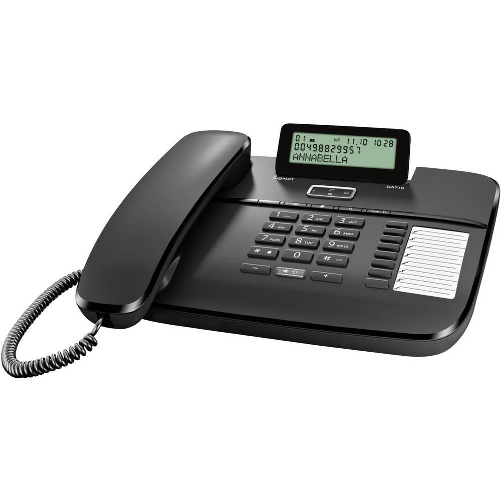 Gigaset DA710 šňůrový telefon, analogový konektor na sluchátka, handsfree matný černá