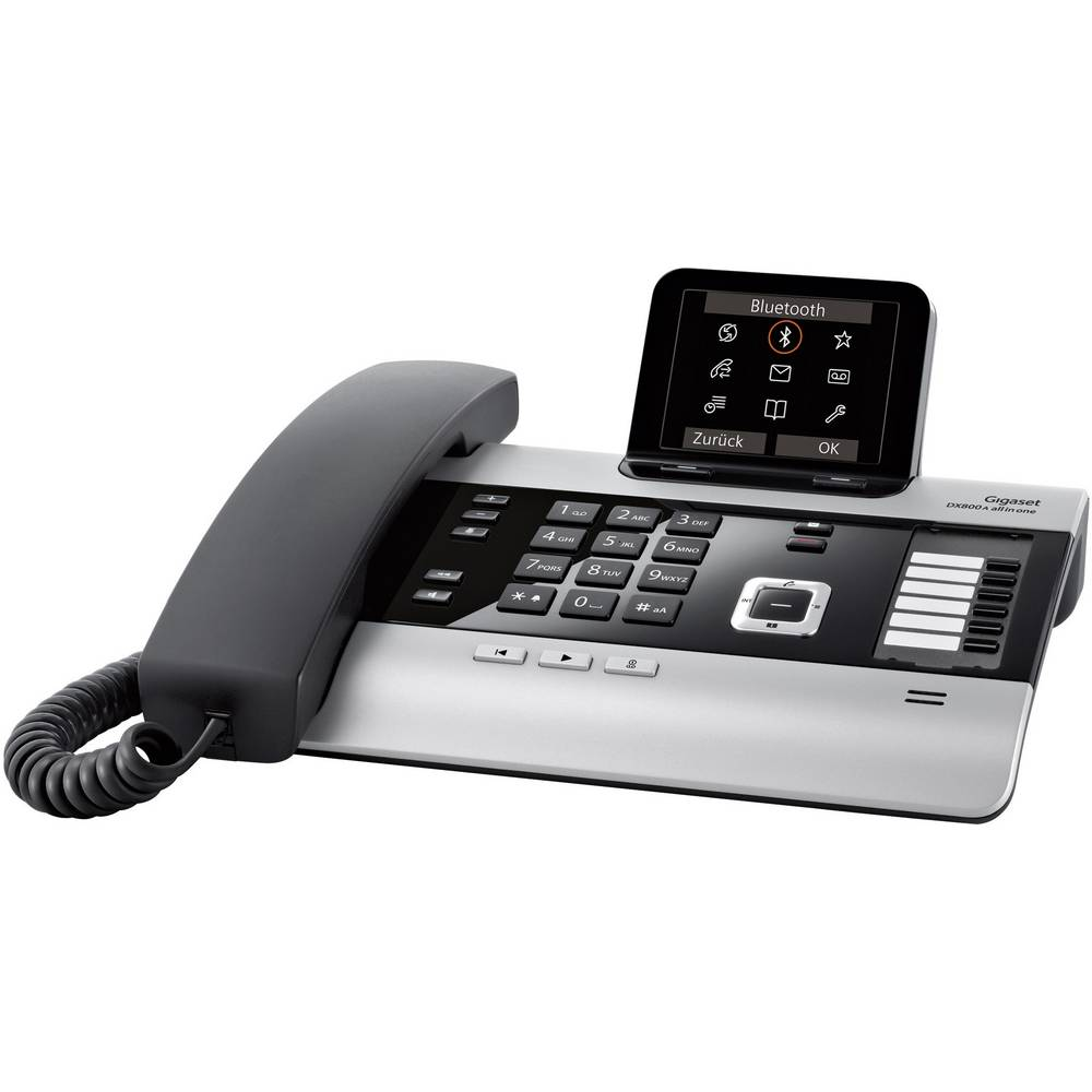 Gigaset DX800A all in one systémový telefon, analogový záznamník, bluetooth, konektor na sluchátka barevný displej titanová