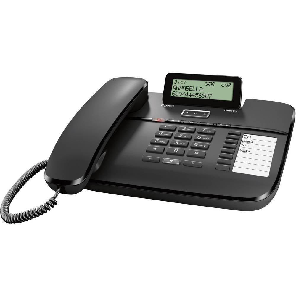 Gigaset DA810A šňůrový telefon, analogový záznamník, handsfree matný černá