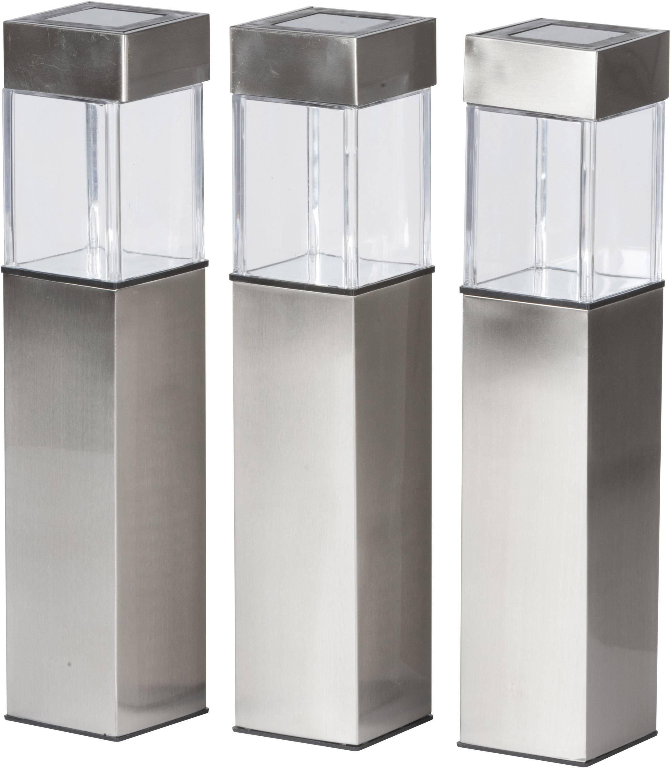 Grundig Solcelle udendørsstanderbelysning Sæt med 3 stk. LED (RGB) Varm hvid Sølv