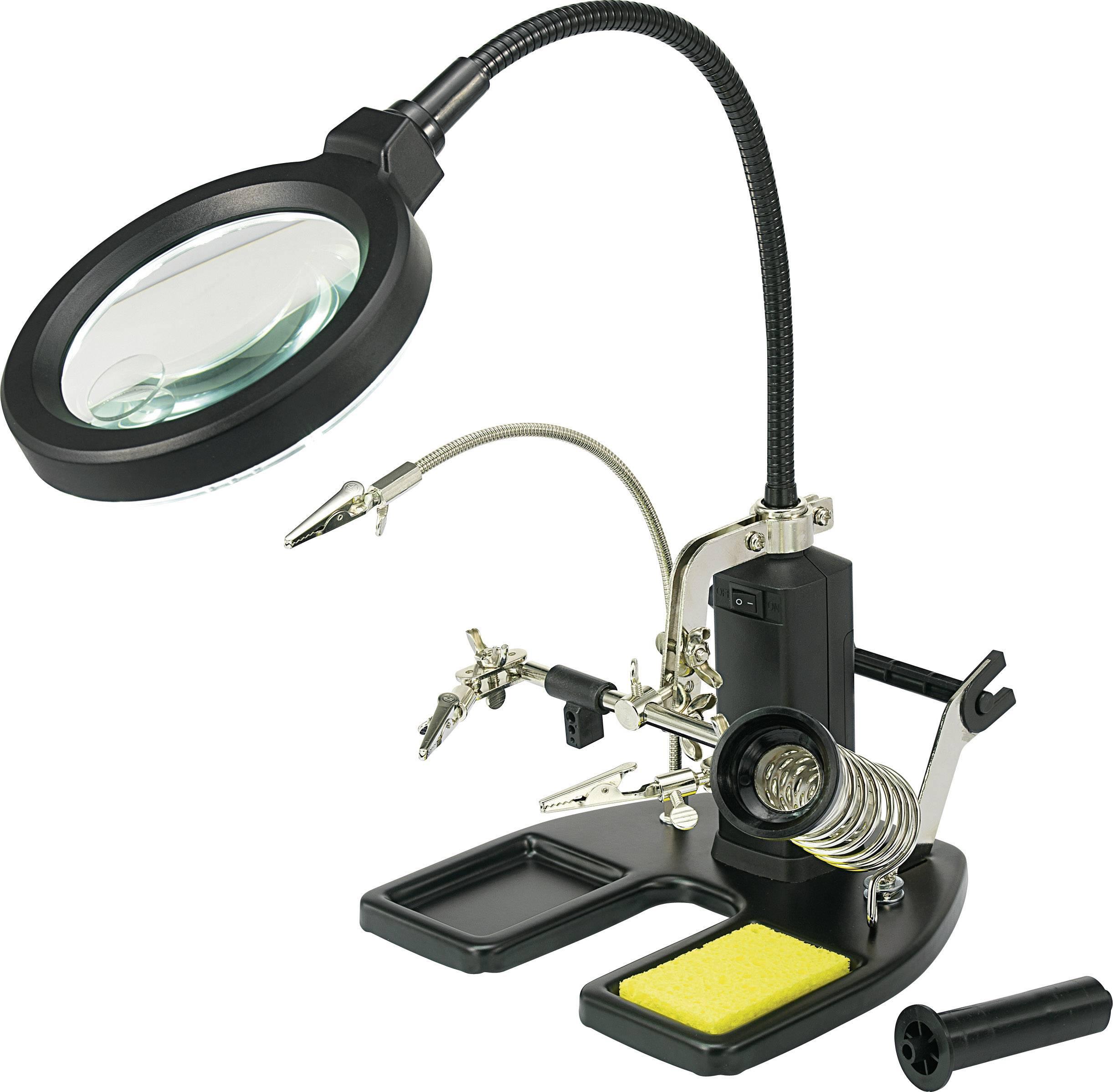 TOOLCRAFT LED lampe med forstørrelsesglas og tredje hånd