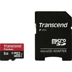 Pamäťová karta micro SDHC, 8 GB, Transcend Premium, Class 10, UHS-I, vr. SD adaptéru