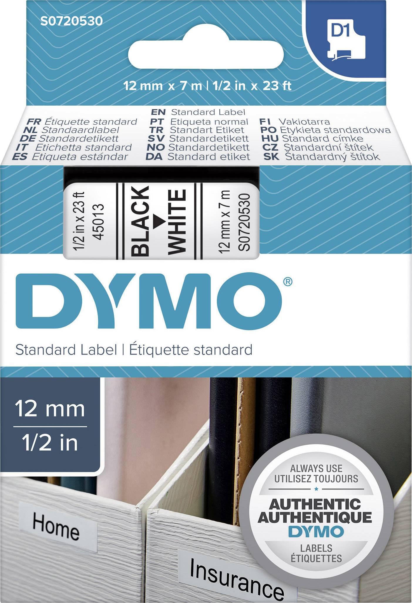 5 STÜCK DYMO D1 12mm x 7m INKLUSIVE VERSAND Farbband schwarz auf weiß