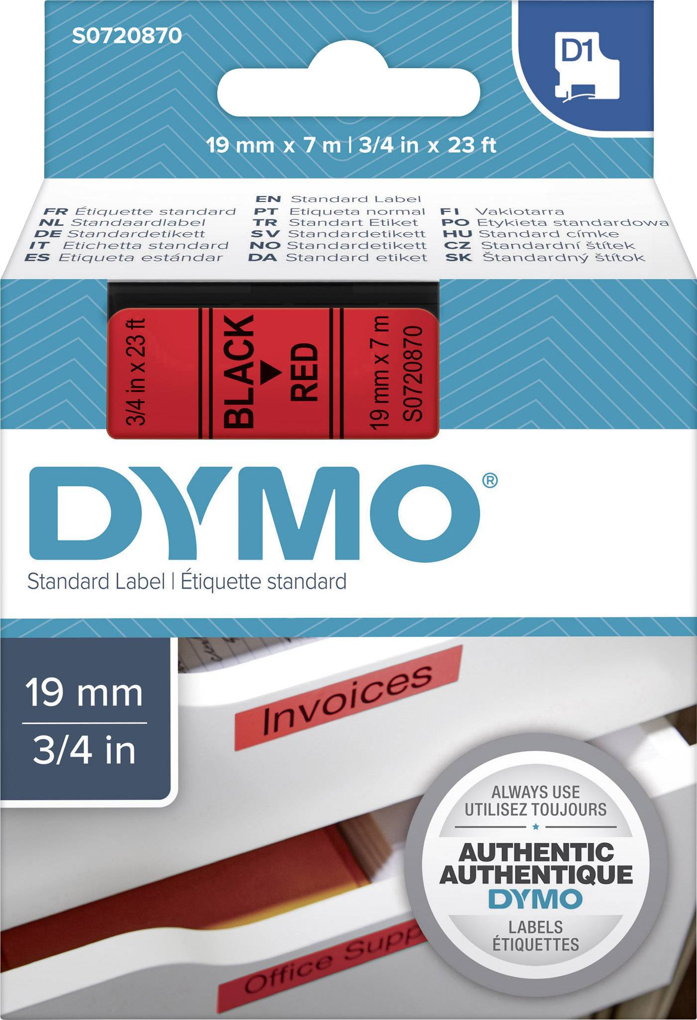 Schriftband rot auf transparent 12mm 7m Dymo D1-Band