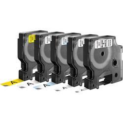 Páska do štítkovače DYMO, 6/9/12 mm, D1, 7 m, černá/bílá/žlutá/transp., 5 ks