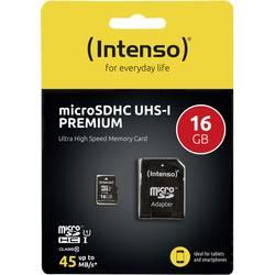 Pamäťová karta micro SDHC, 16 GB, Intenso Premium, Class 10, UHS-I, vr. SD adaptéru