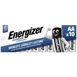 Tužková batéria typu AA lítiová Energizer Ultimate FR6, 3000 mAh, 1.5 V, 10 ks