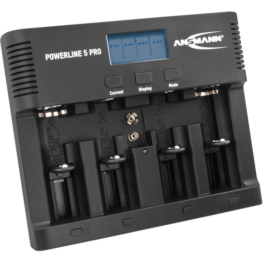 Ansmann Powerline 5 Pro Batteriladdare NiCd, NiMH AAA (R3), AA (R6), C (R14), D (R20), 9V block (6F22)
