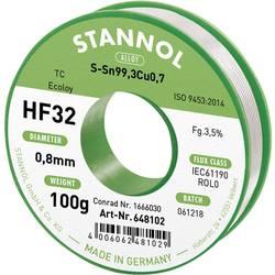 Spájkovací cín bez olova Stannol HF32 3,5% 0,8MM SN99,3CU0,7 CD 100G, Sn99,3Cu0,7, bez olova, cievka, 100 g, 0.8 mm