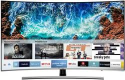 """LED TV 138 cm 55 """" Samsung UE55NU8509 en.třída A (A++ - E) DVB-C, UHD, Curved, Smart TV, WLAN, PVR ready černá, stříbrná"""