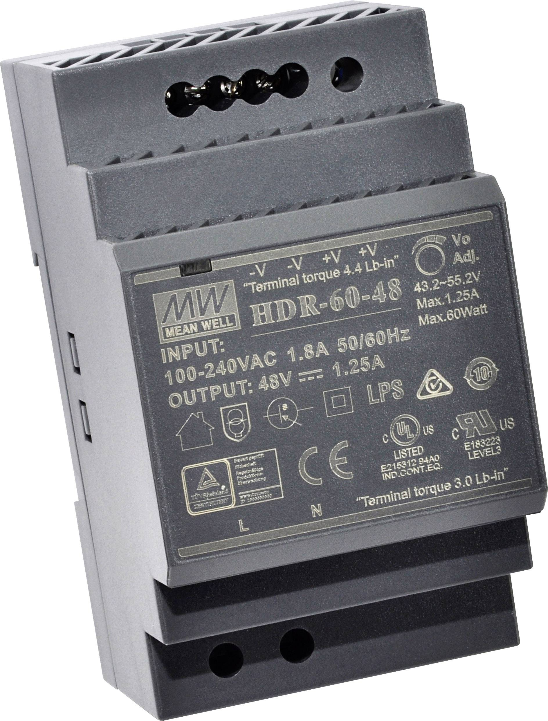 24 V-//0,63 A Hutschienen-Schaltnetzteil MEANWELL HDR-15-24