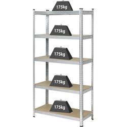 Regál na tažké predmety Basetech 1897698, (š x v x h) 900 x 1800 x 400 mm, Zaťažiteľnosť (dno) 175 kg, kov, MDF, pozinkovaný, strieborná