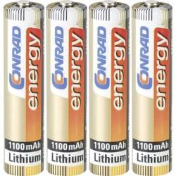Mikrotužková batérie typu AAA lítiová Conrad energy Extreme Power FR03, 1100 mAh, 1.5 V, 4 ks