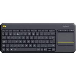 Klávesnica Logitech K400+, integrovaný touchpad, tlačidlá myši, tlačidla multimédií, čierna