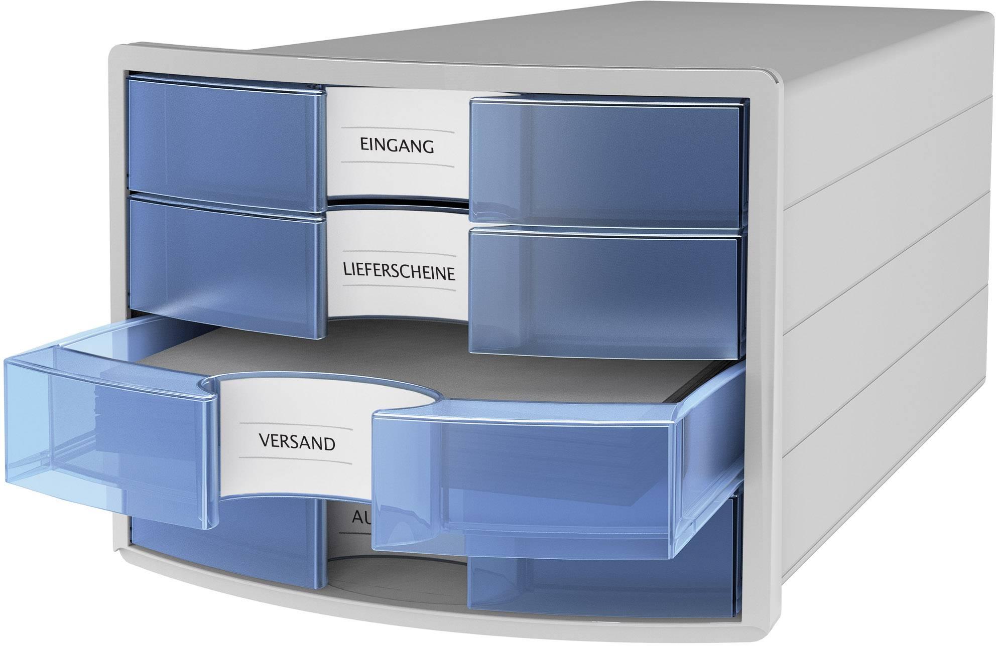 blau HAN Schubladenbox IMPULS 2.0 4 Schubladen lichtgrau