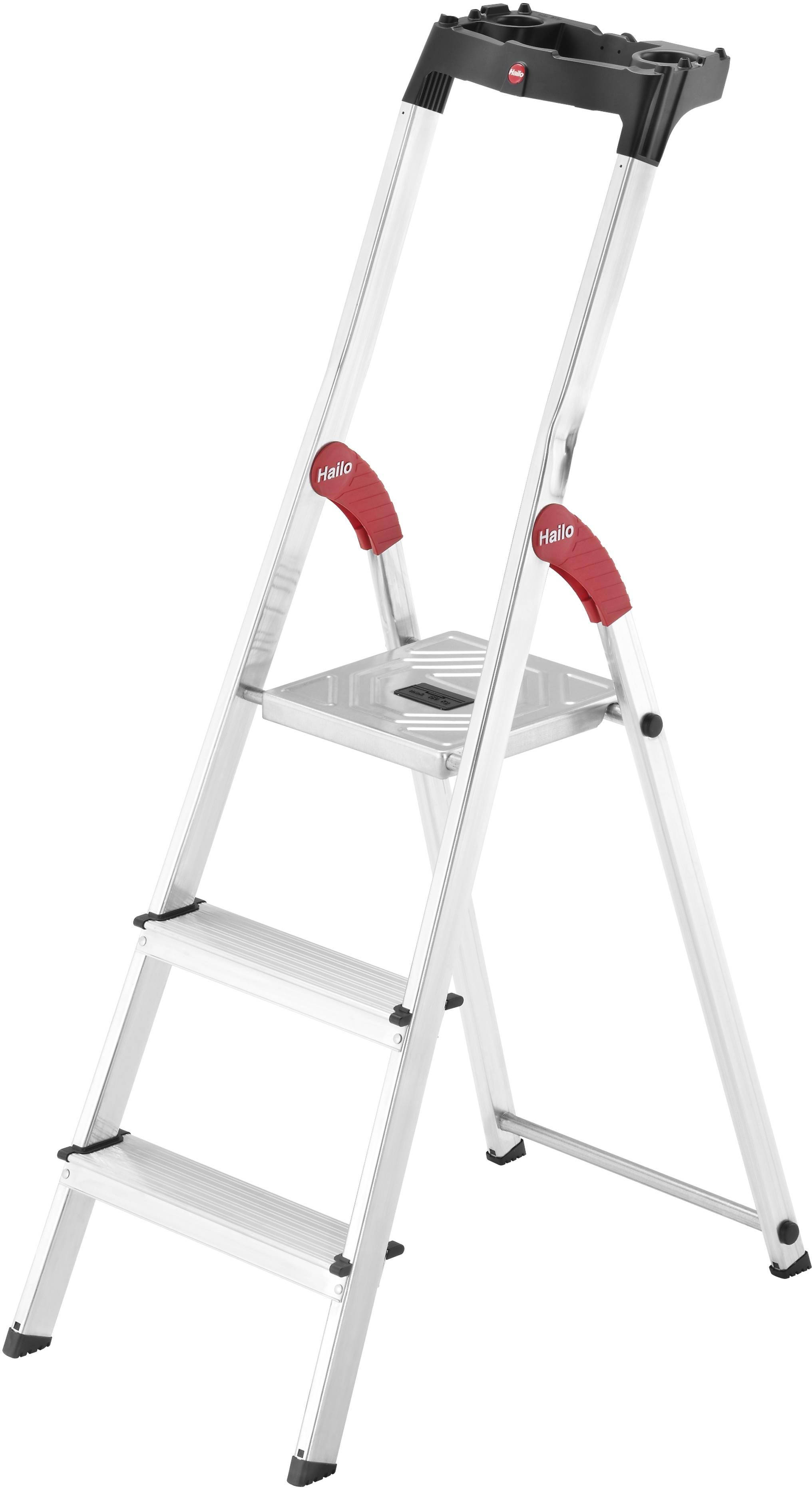 Newpo Klapptritt 150 kg Traglast Stehleiter Haushaltsleiter Trittleiter Klappstufen Klapptritt Klappleiter 3 Stufen Schwarz
