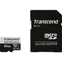 Pamäťová karta micro SDXC, 64 GB, Transcend Premium 330S, Class 10, UHS-I, UHS-Class 3, v30 Video Speed Class, vr. SD adaptéru