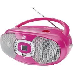 FM rádio s CD prehrávačom Dual P 390, CD, MW, UKW, USB, ružová